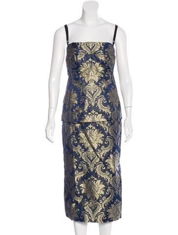 Dolce & Gabbana Brocade Bustier Skirt Set None