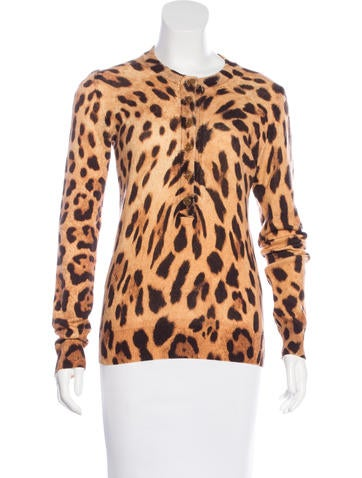 Dolce & Gabbana Leopard Print Long Sleeve Top None