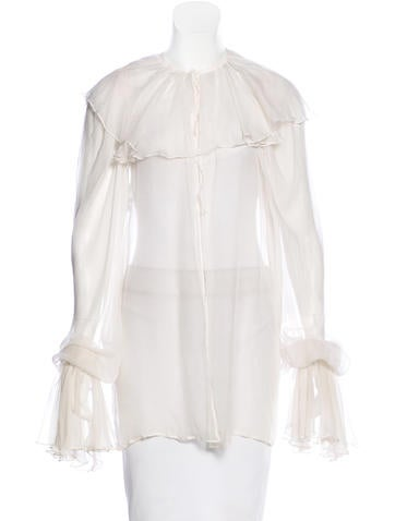 Dolce & Gabbana Sheer Ruffled Blouse None