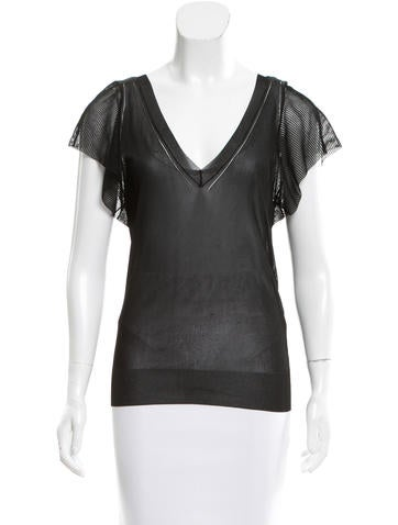 Dolce & Gabbana Sheer Open Knit-Trimmed Top None