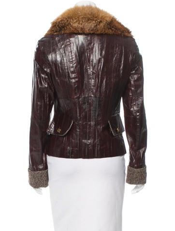 Fox Fur Collar Eel Skin Jacket