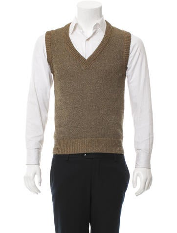 Dolce & Gabbana Metallic V-Neck Knit Vest None