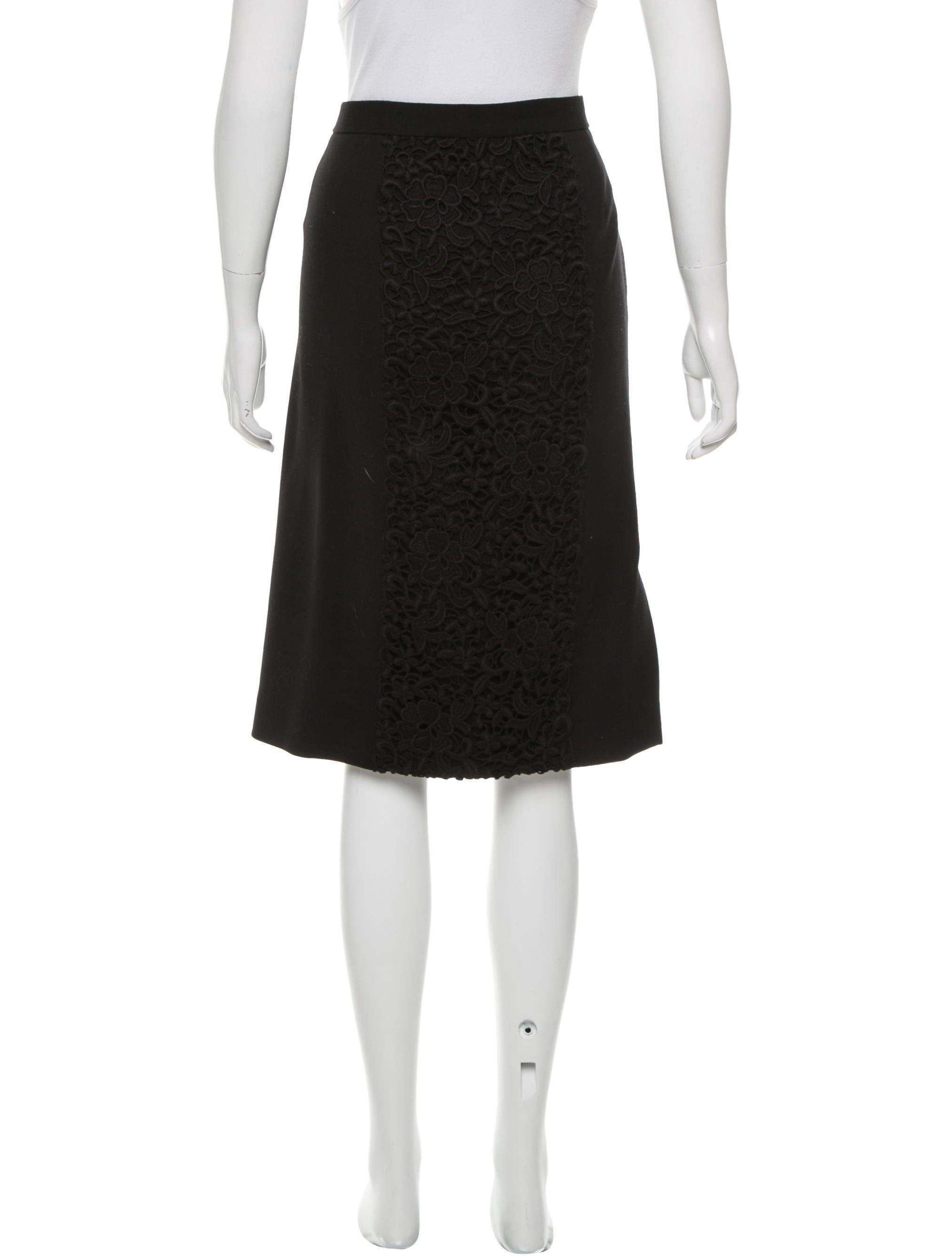 dolce gabbana guipure lace paneled knee length skirt