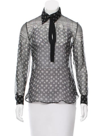 Dolce & Gabbana Sheer Floral Print Top None