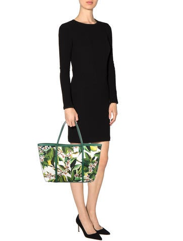 Floral Print Canvas Tote