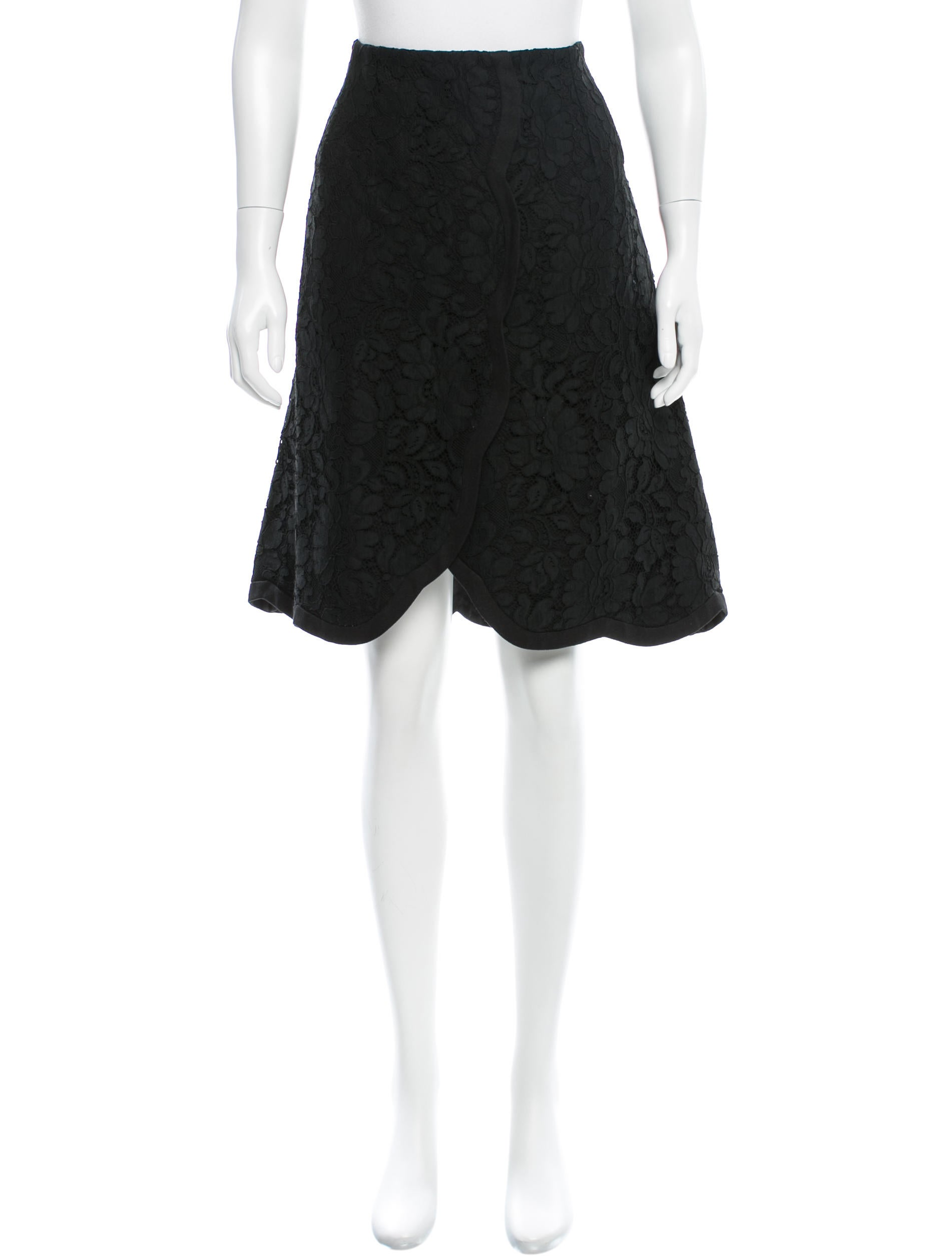 dolce gabbana floral lace knee length skirt clothing