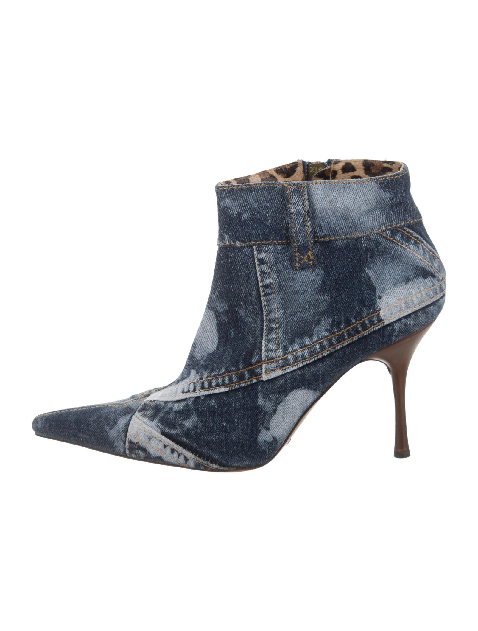 dolce gabbana pointed toe denim ankle boots shoes
