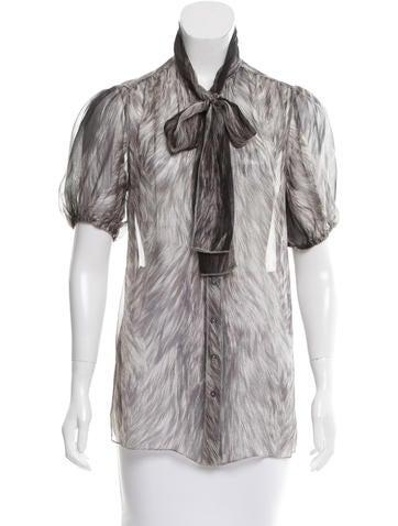 Dolce & Gabbana Sheer Abstract Top None