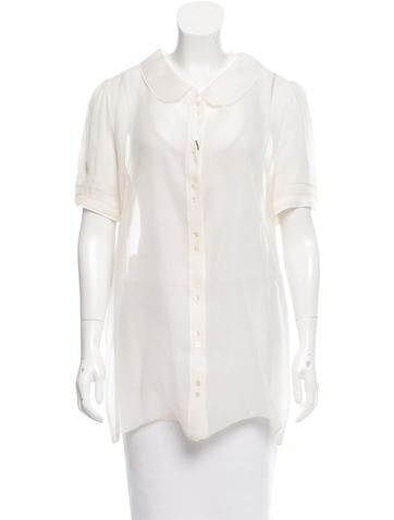 Dolce & Gabbana Sheer Peter Pan Collar Top w/ Tags None