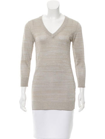 Dolce & Gabbana Metallic V-Neck Sweater w/ Tags None