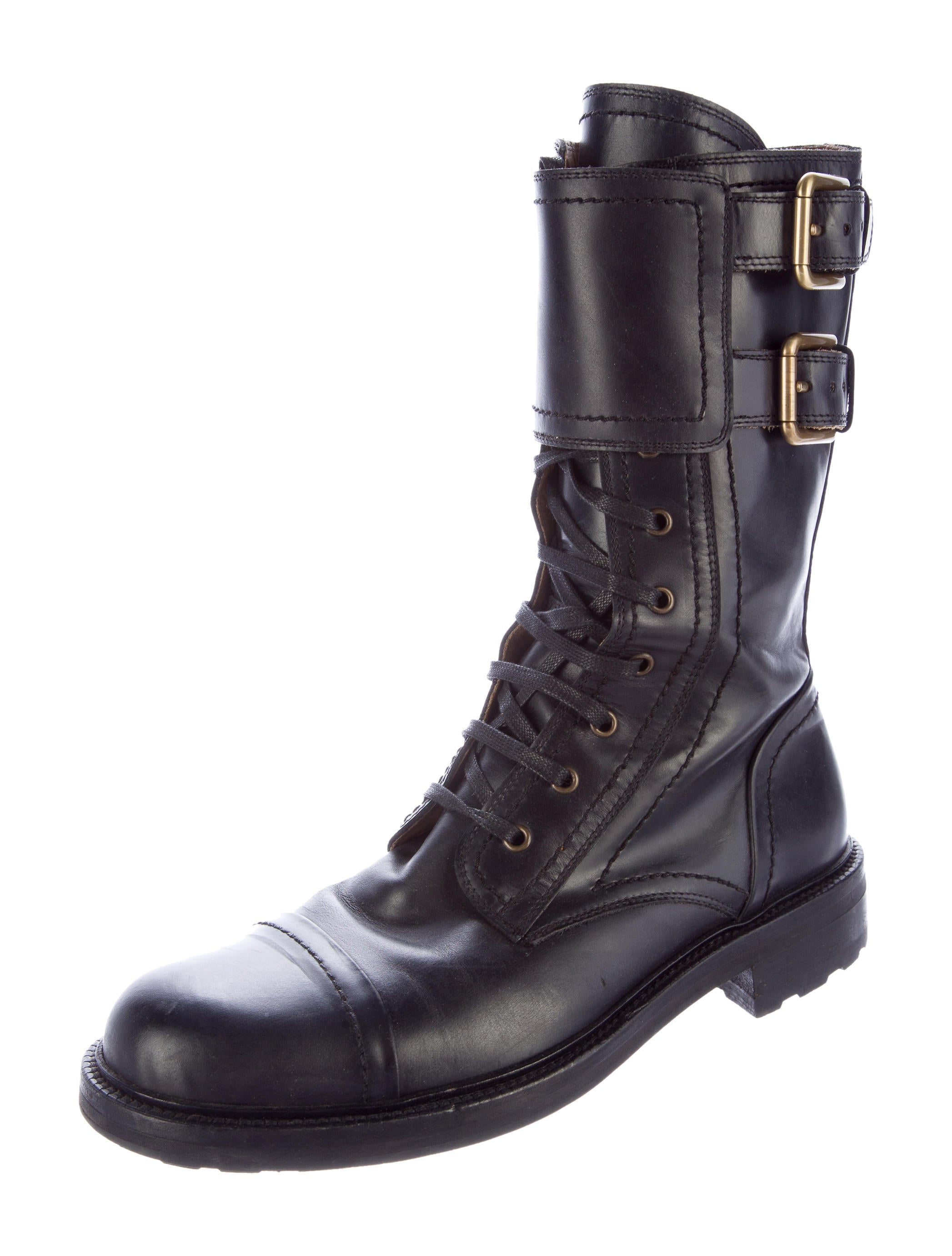 dolce gabbana leather combat boots shoes dag75285