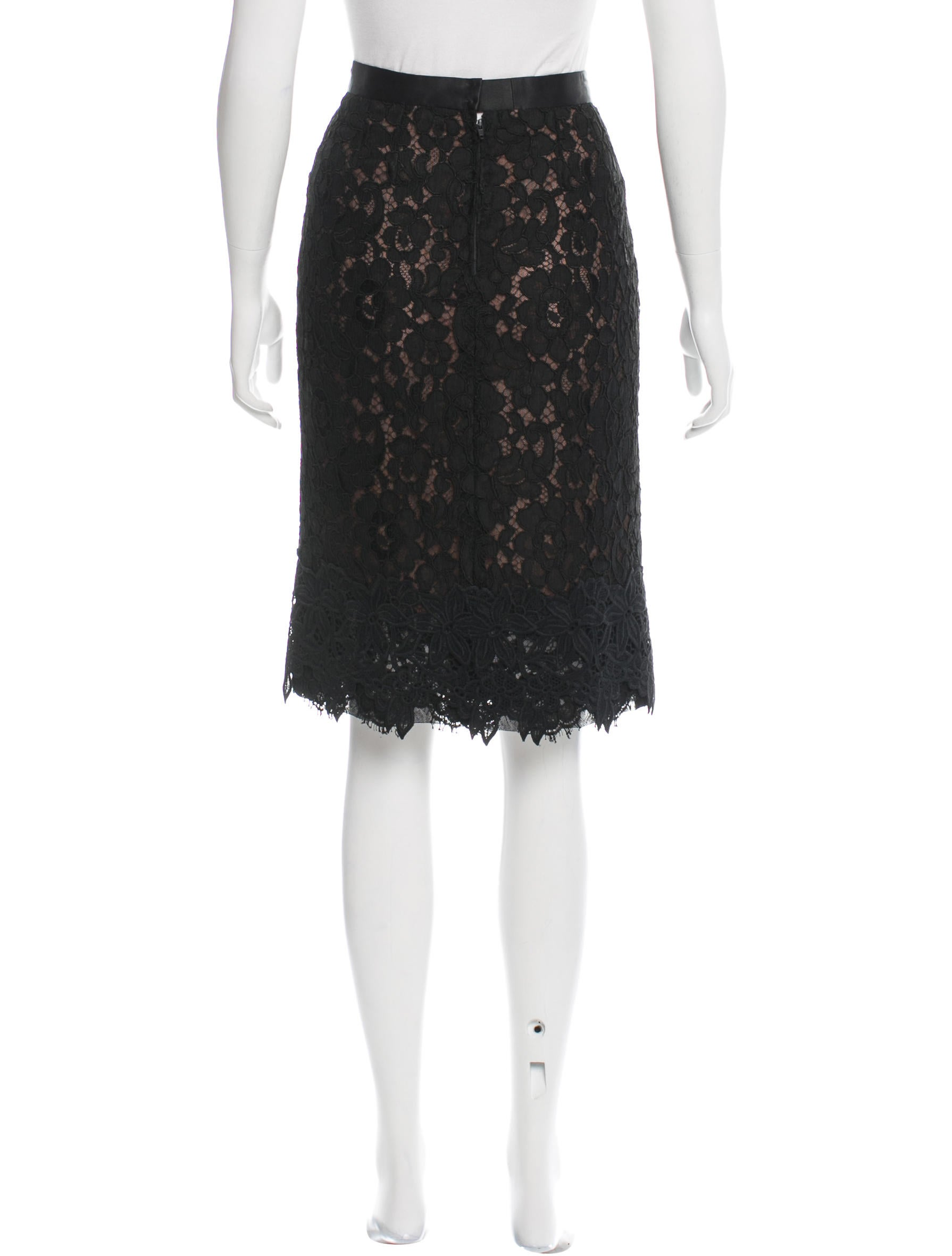 dolce gabbana guipure lace knee length skirt clothing