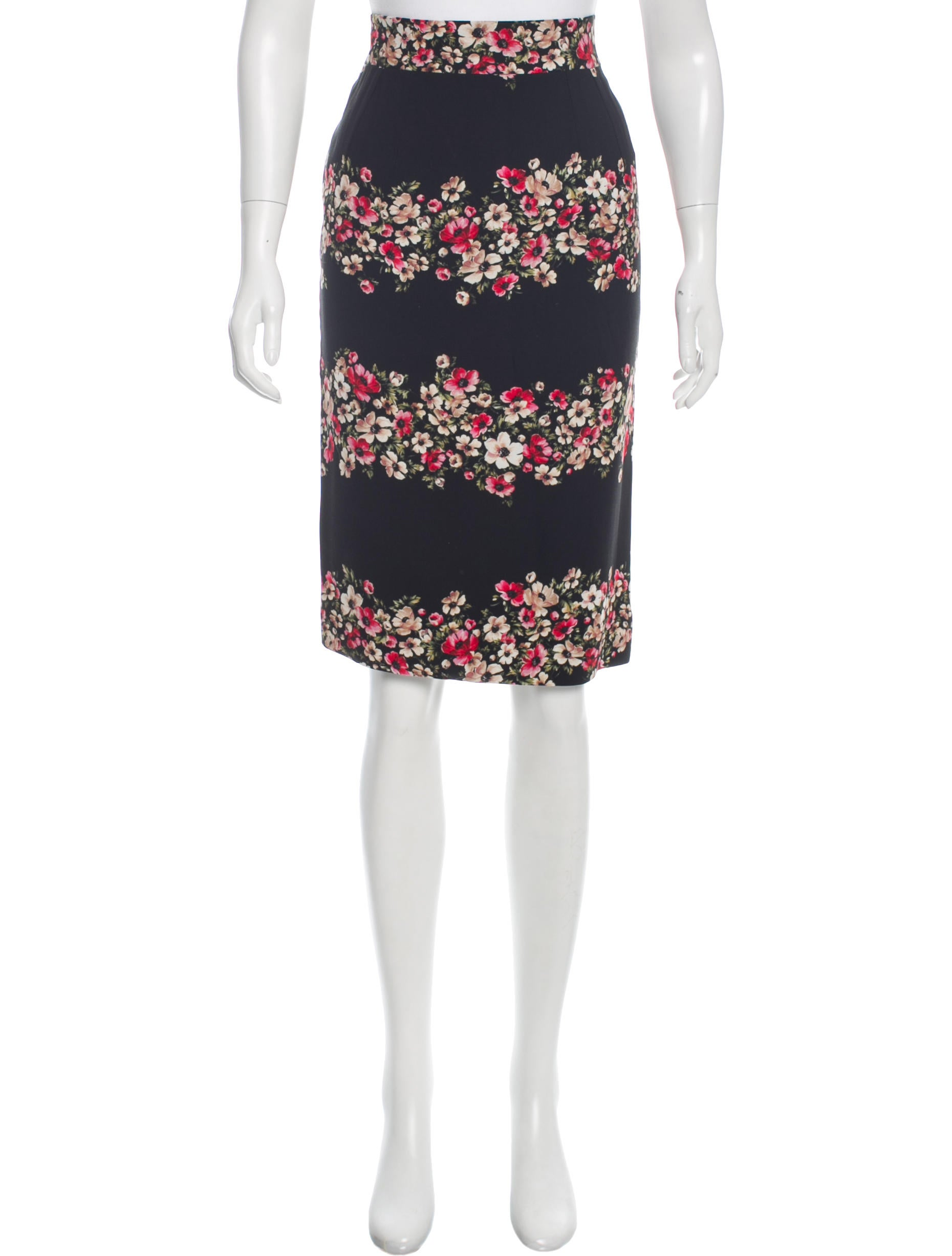 dolce gabbana floral print knee length skirt clothing
