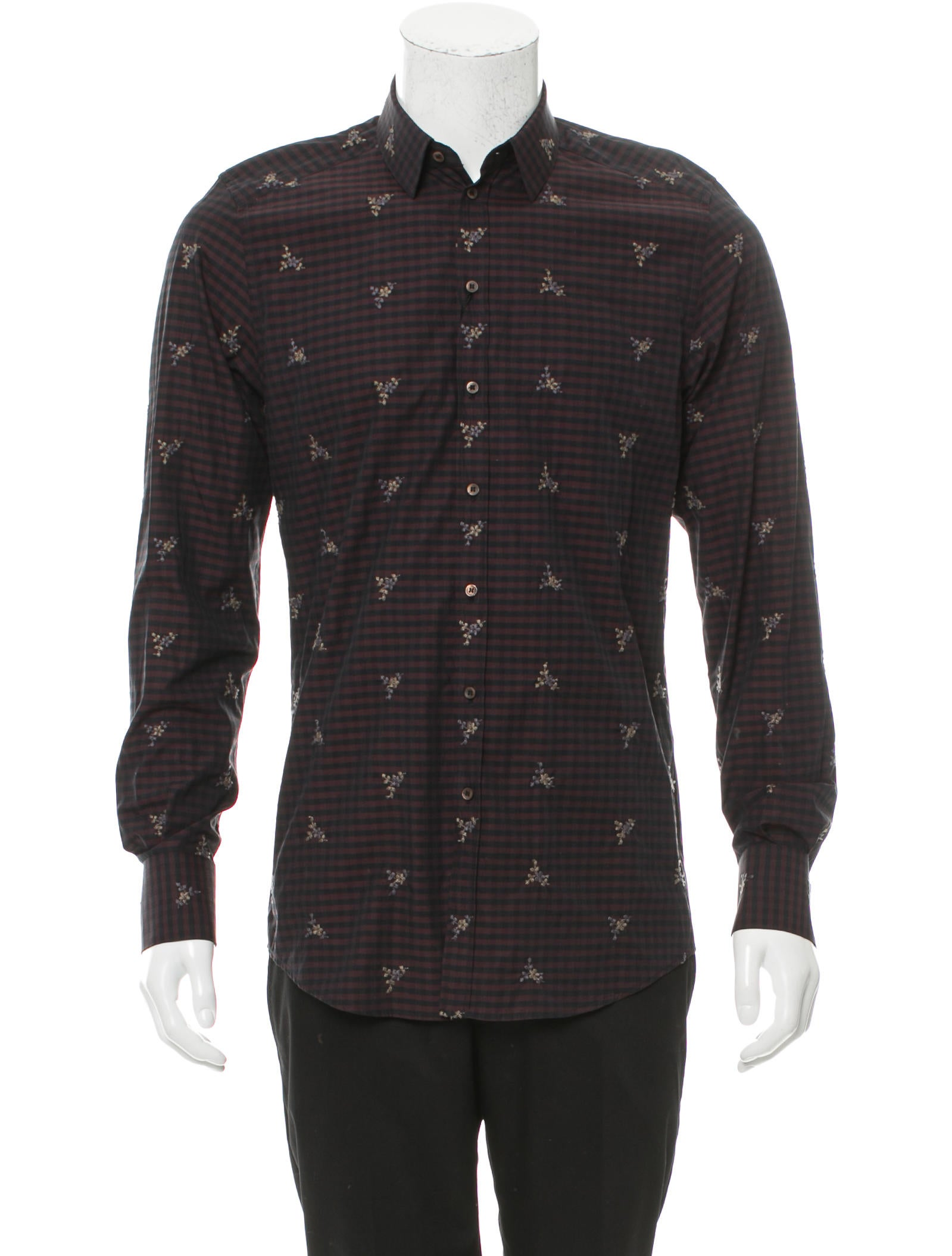 Dolce gabbana gingham floral embroidered shirt w tags