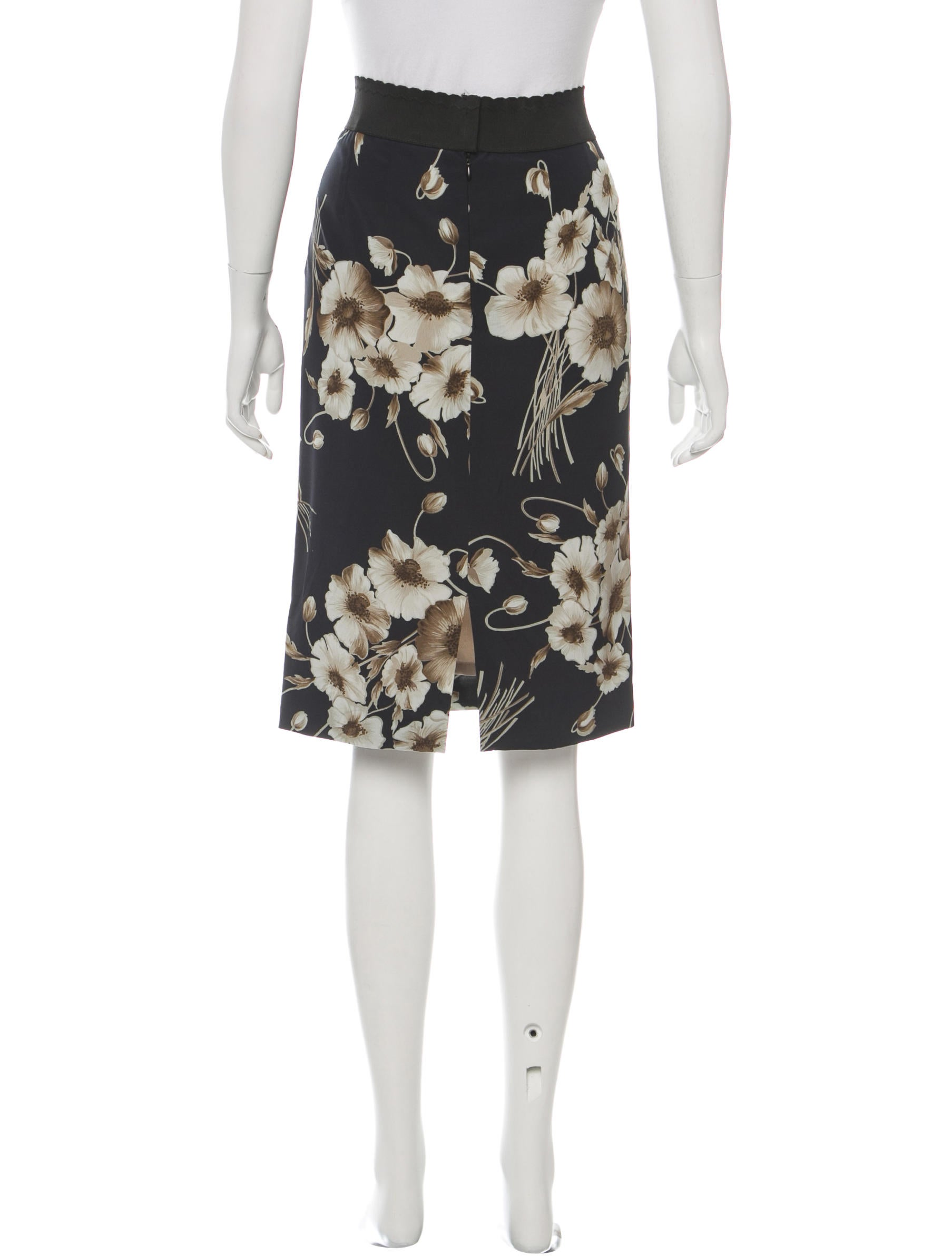dolce gabbana floral print knee length skirt clothing