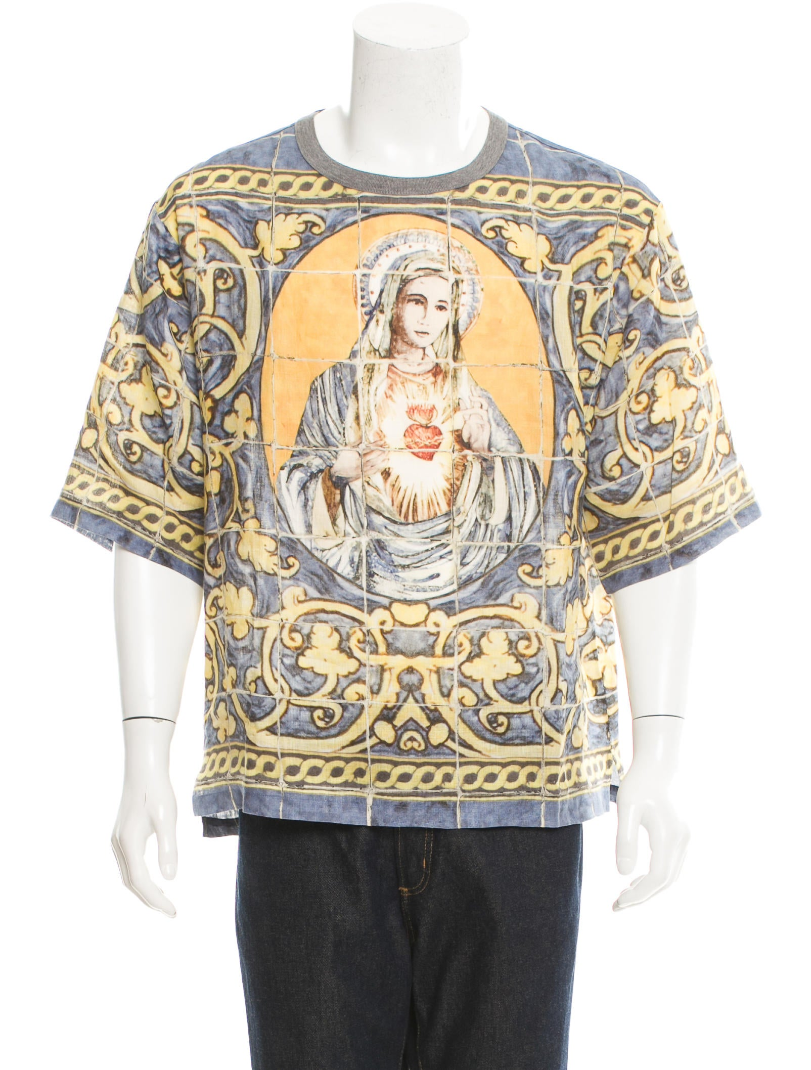 Dolce gabbana linen printed t shirt clothing for Dolce and gabbana printed t shirts