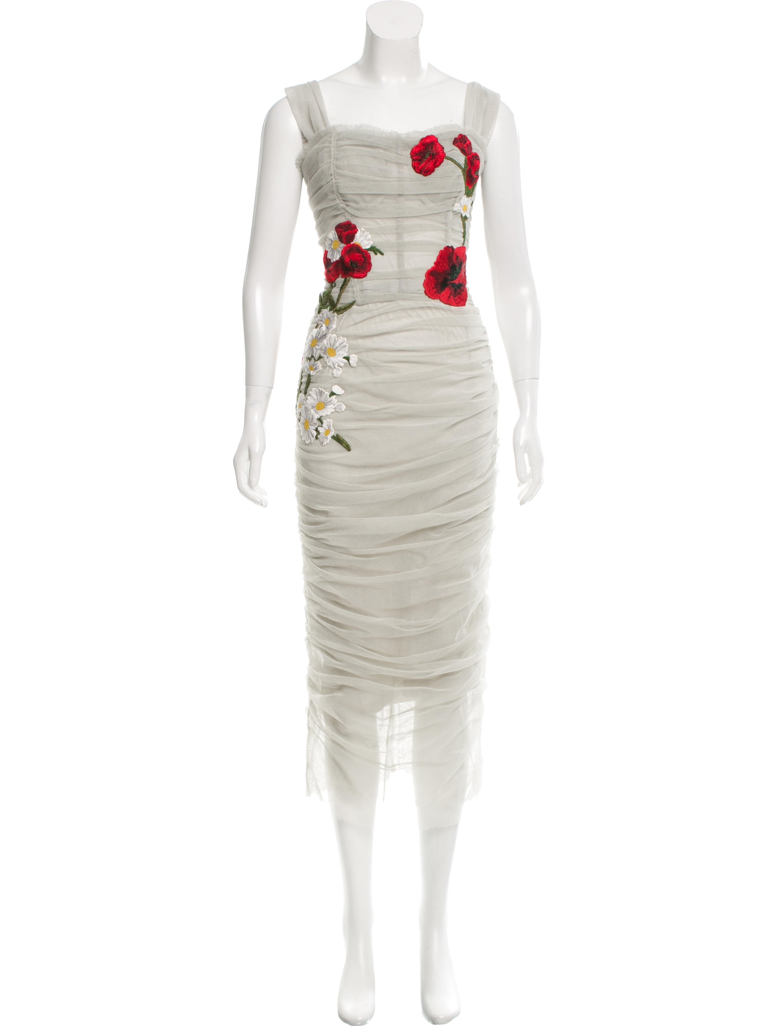 Dolce gabbana rose embroidered tulle dress w tags