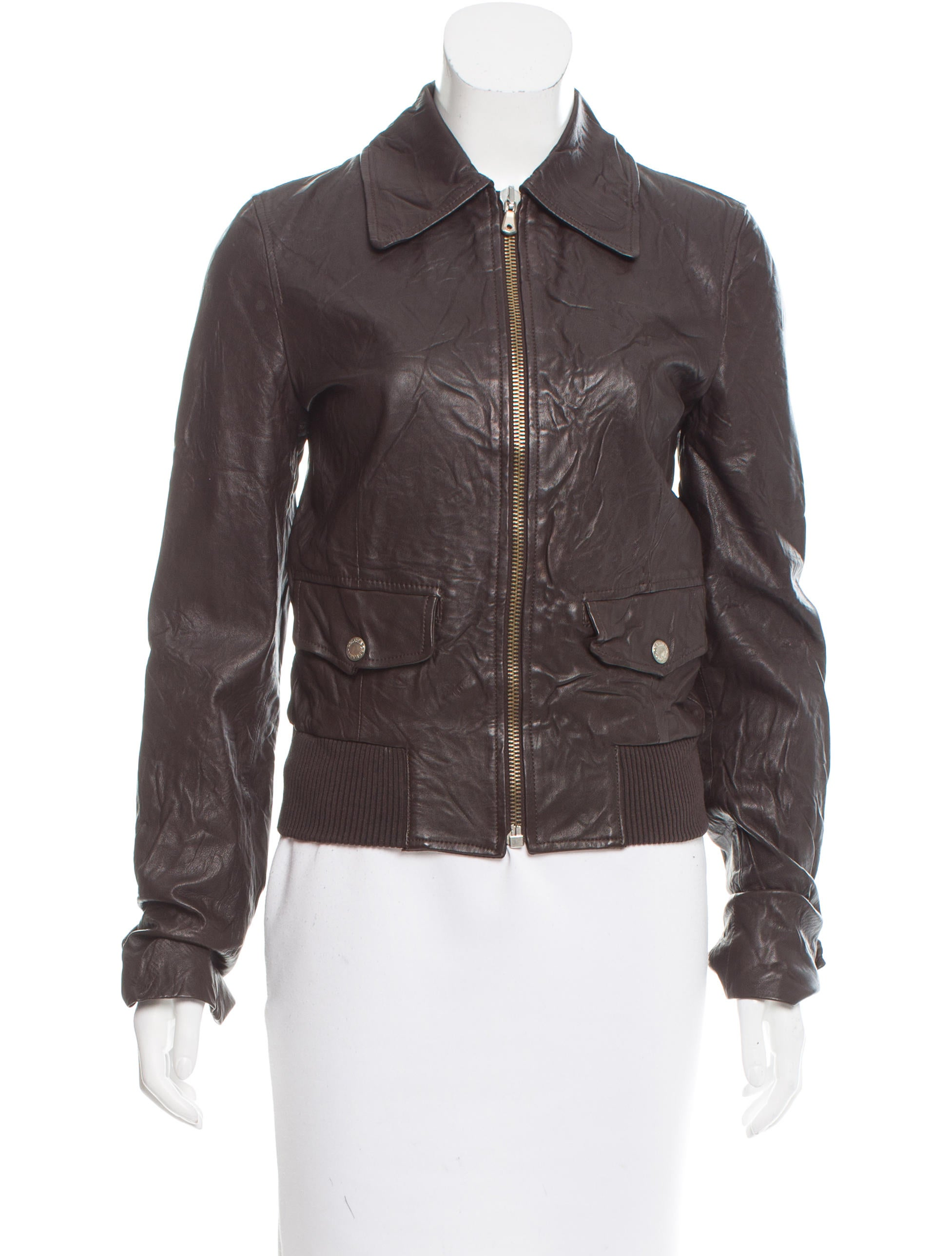 dolce gabbana leather bomber jacket clothing dag77018 the realreal. Black Bedroom Furniture Sets. Home Design Ideas