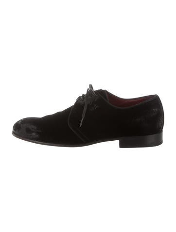 Dolce & Gabbana Distressed Velvet Derby Shoes None