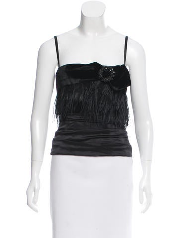 Dolce & Gabbana Feather-Trimmed Bustier Top None