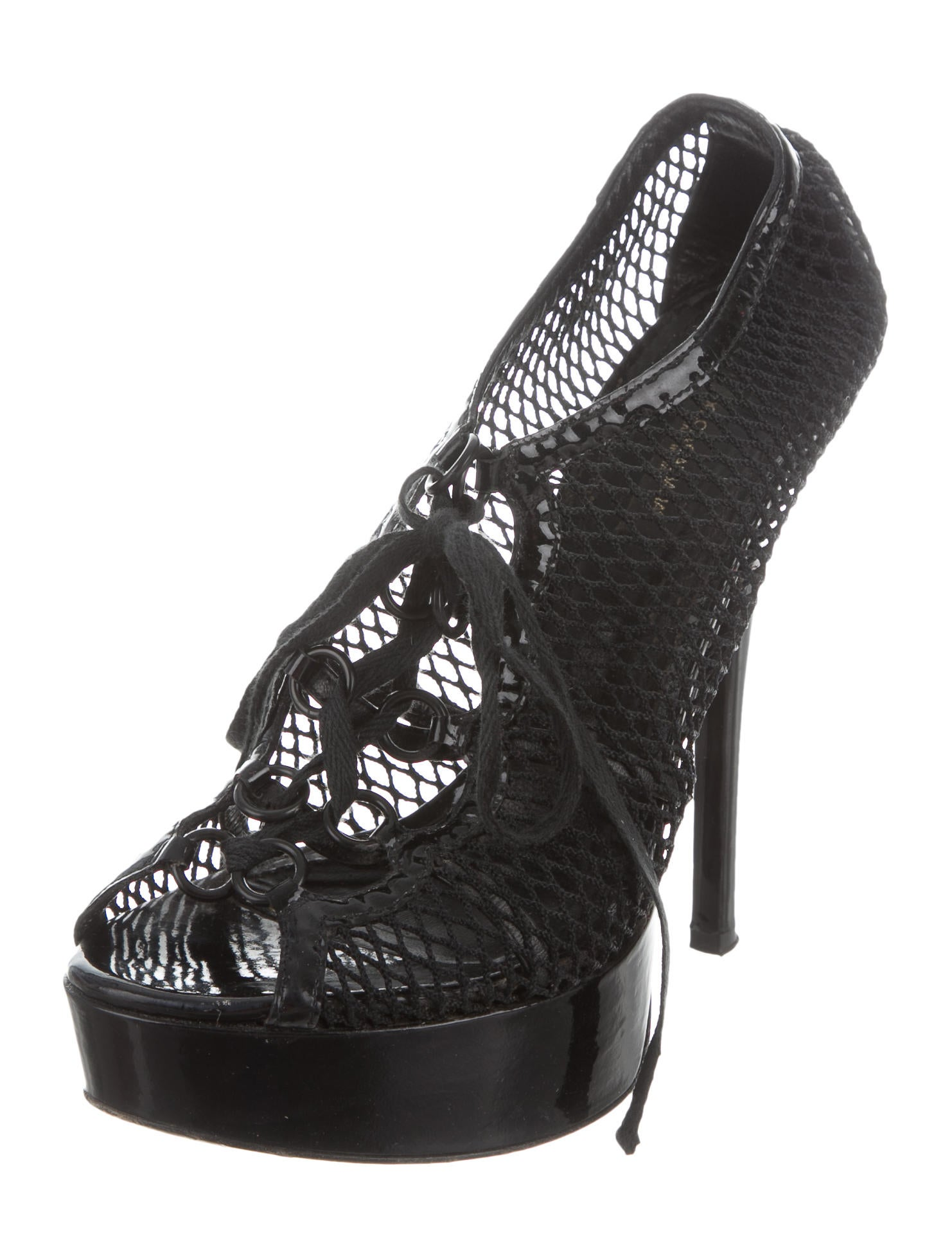 Dolce gabbana fish net platform booties shoes for Platform shoes with fish