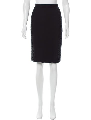 Dolce & Gabbana Lace-Accented Wool Skirt None