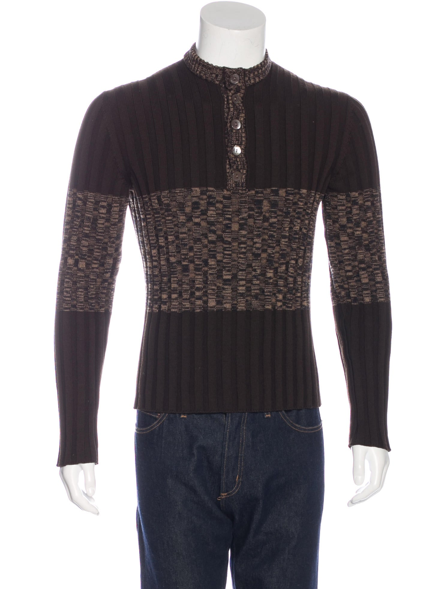 Dolce & Gabbana Wool Knit Henley Sweater - Clothing - DAG79411 The Real...