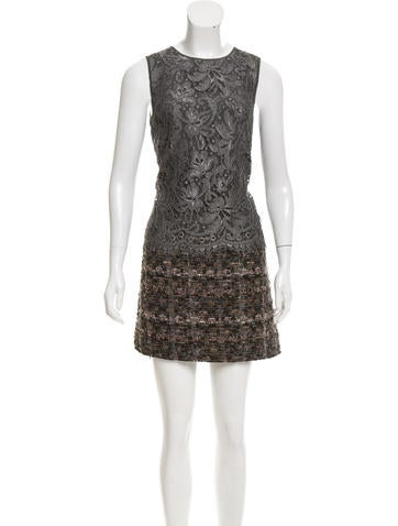 Dolce & Gabbana Lace Bouclé-Paneled Dress w/ Tags None