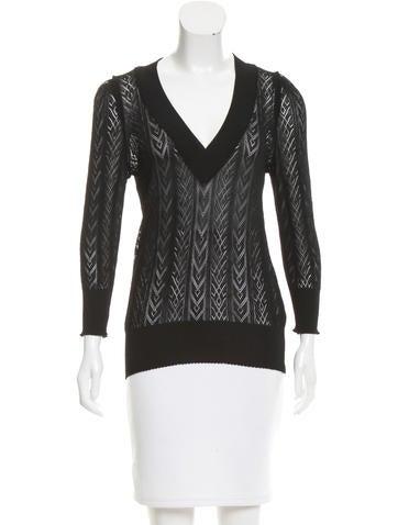 Dolce & Gabbana Semi-Sheer V-Neck Sweater w/ Tags None