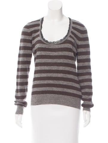 Dolce & Gabbana Lace-Trimmed Striped Sweater None
