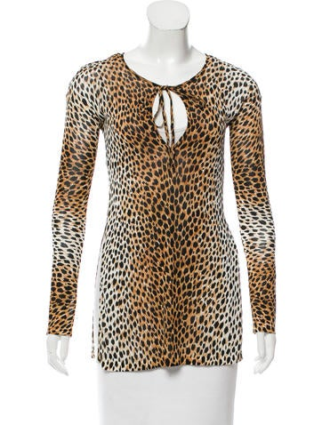 Dolce & Gabbana Semi-Sheer Cheetah Print Top None