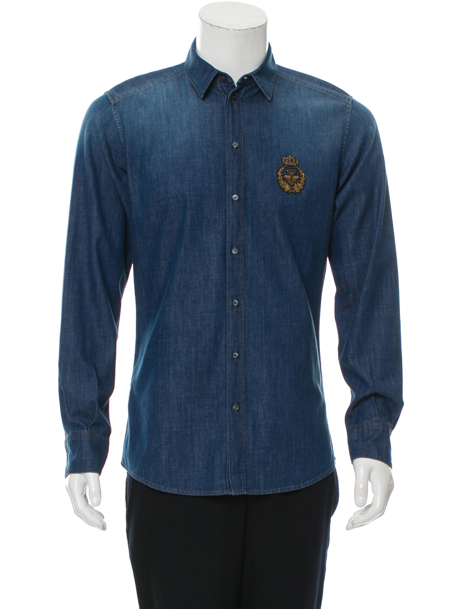 Dolce gabbana logo embroidered chambray shirt clothing for Shirt with logo embroidered