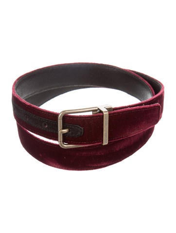 Dolce & Gabbana Velvet Brass-Tone Belt None