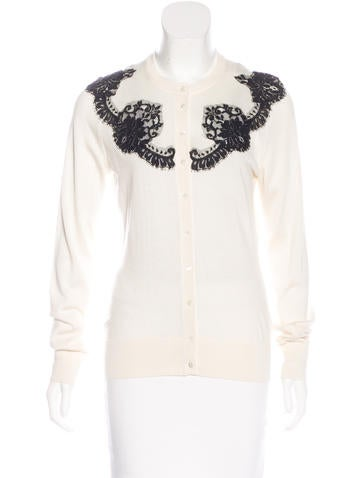 Dolce & Gabbana Silk Lace-Accented Cardigan None