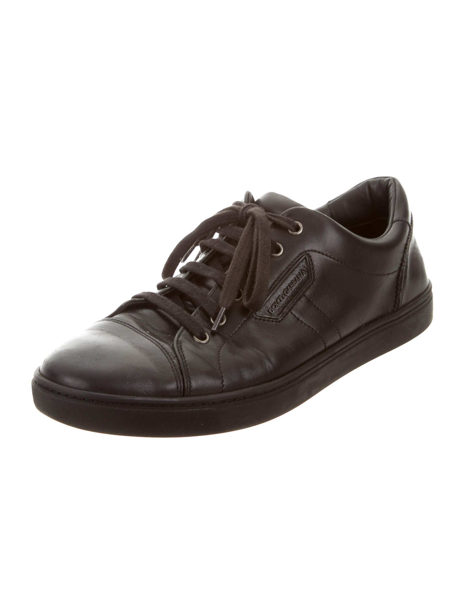 dolce gabbana leather low top sneakers shoes dag81572 the realreal. Black Bedroom Furniture Sets. Home Design Ideas
