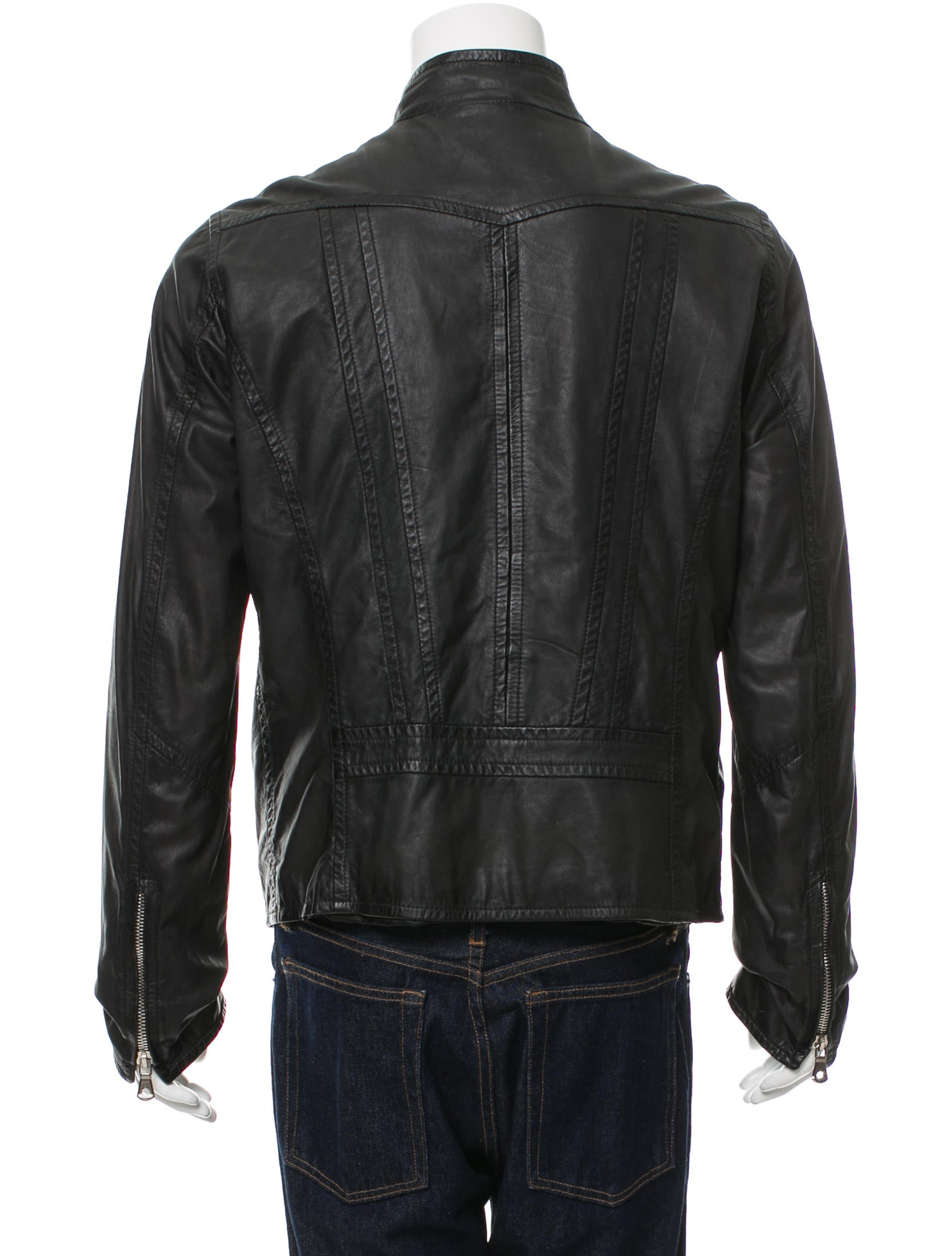 dolce gabbana leather moto jacket clothing dag81811 the realreal. Black Bedroom Furniture Sets. Home Design Ideas