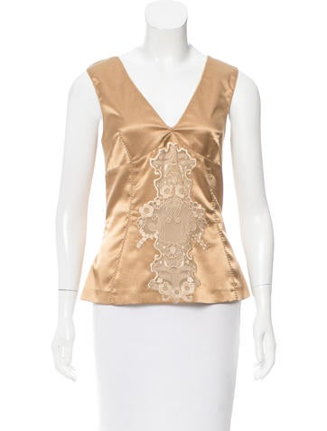 Dolce & Gabbana Embroidered Sleeveless Top None