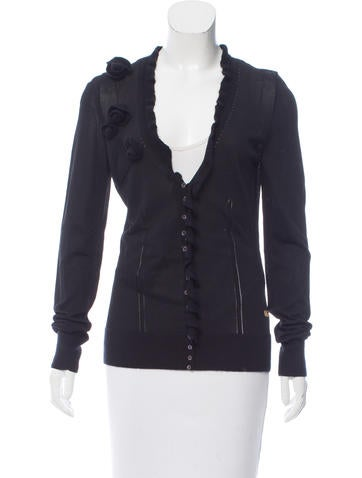 Dolce & Gabbana Rib Knit Ruffle-Accented Cardigan None