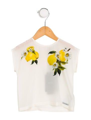 Dolce & Gabbana Girls' Lemon Print Silk Top w/ Tags None