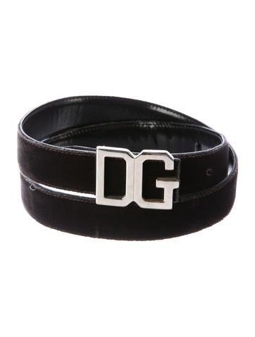Dolce & Gabbana Velvet DG Belt None