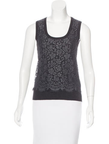 Dolce & Gabbana Lace-Paneled Knit Top None