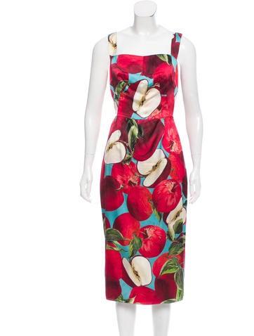Dolce & Gabbana Apple Print Satin Dress