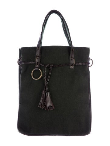 Dolce & Gabbana Leather-Trimmed Wool Tote None