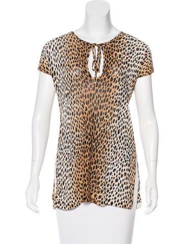 Dolce & Gabbana Sheer Cheetah Print Top None
