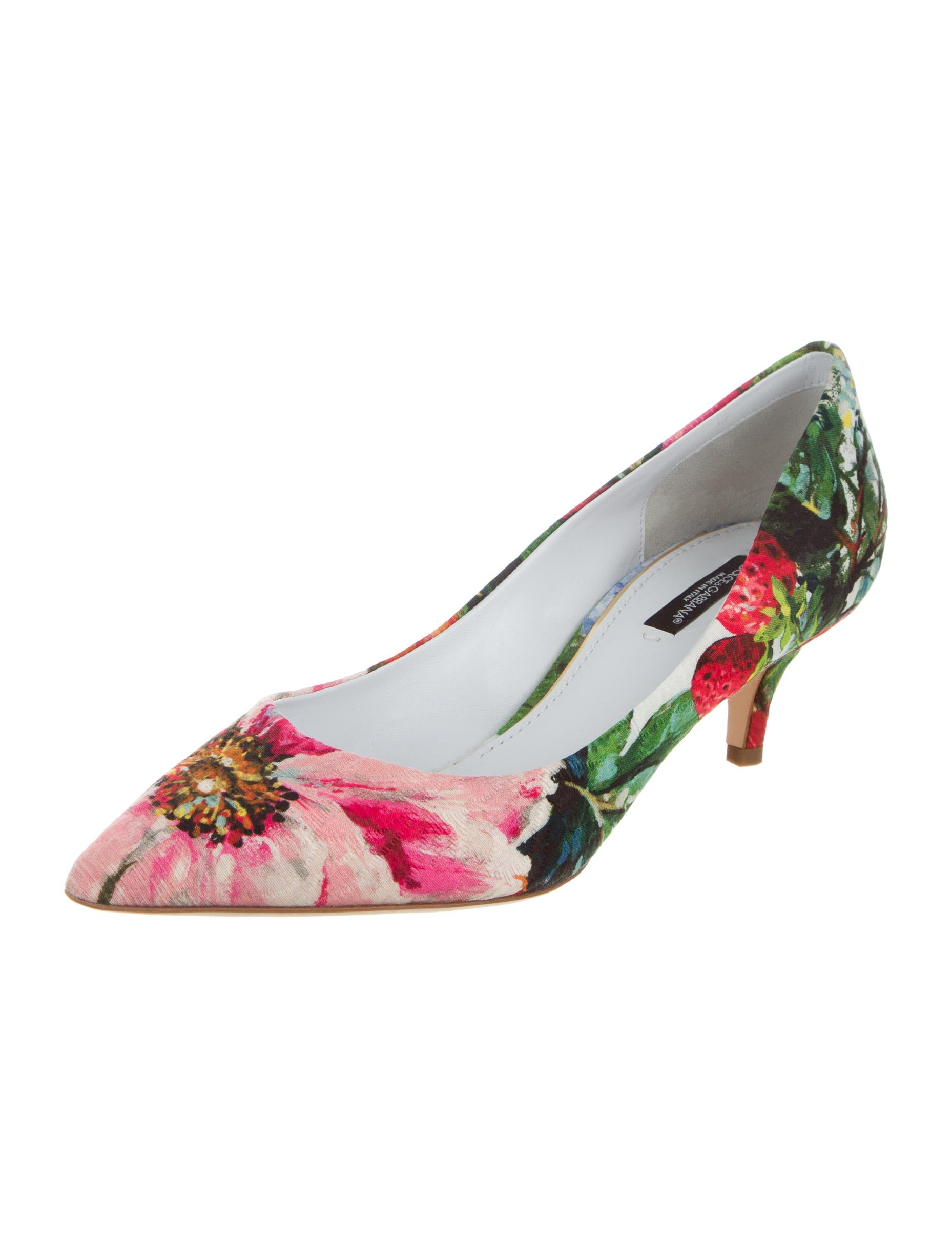 Dolce Amp Gabbana Floral Print Pointed Toe Pumps Shoes