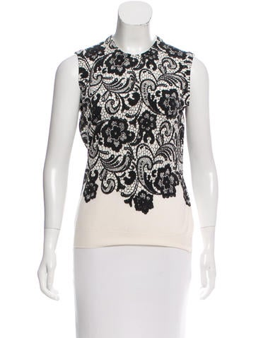 Dolce & Gabbana Lace Print Wool Top None