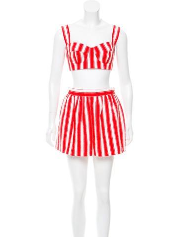 Dolce & Gabbana Textured Striped Skirt Set None