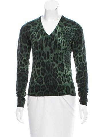 Dolce & Gabbana Leopard Print Cashmere Sweater None