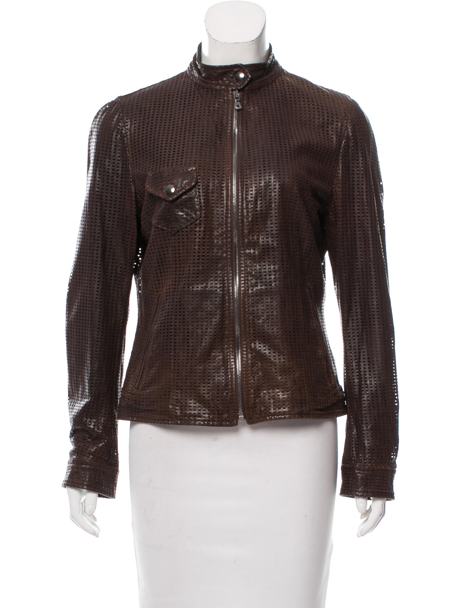 dolce gabbana perforated leather jacket clothing dag85892 the realreal. Black Bedroom Furniture Sets. Home Design Ideas