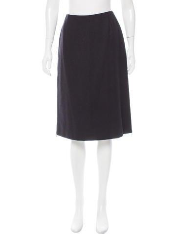 Dolce & Gabbana Zip-Accented Wool Skirt None